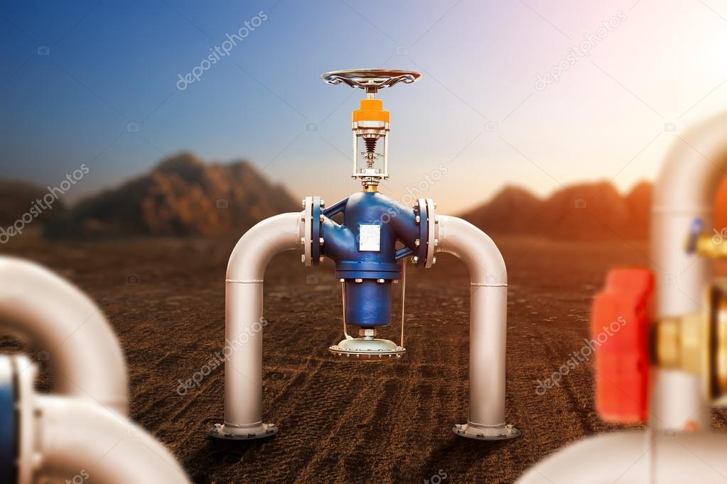 pipes with valve in desert