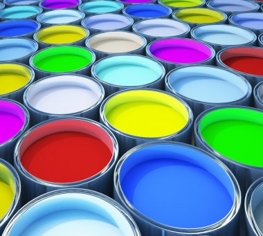 Lot of opened paint buckets with various colors stock vector