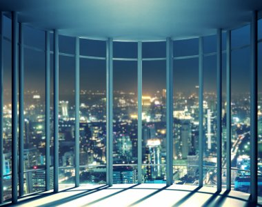Night view of buildings from the last floor of high rise window, beautiful expensive real estate stock vector