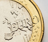 Fotografie ein-euro-münze auf weiß