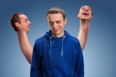 Man with three heads