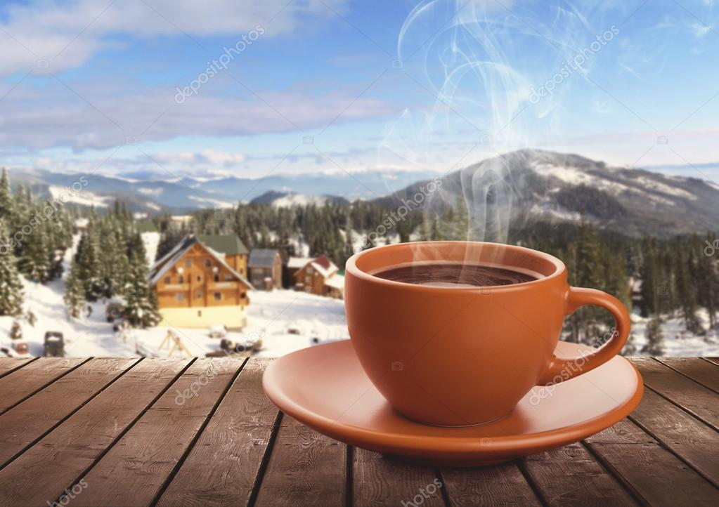 Cup of tea on winter background