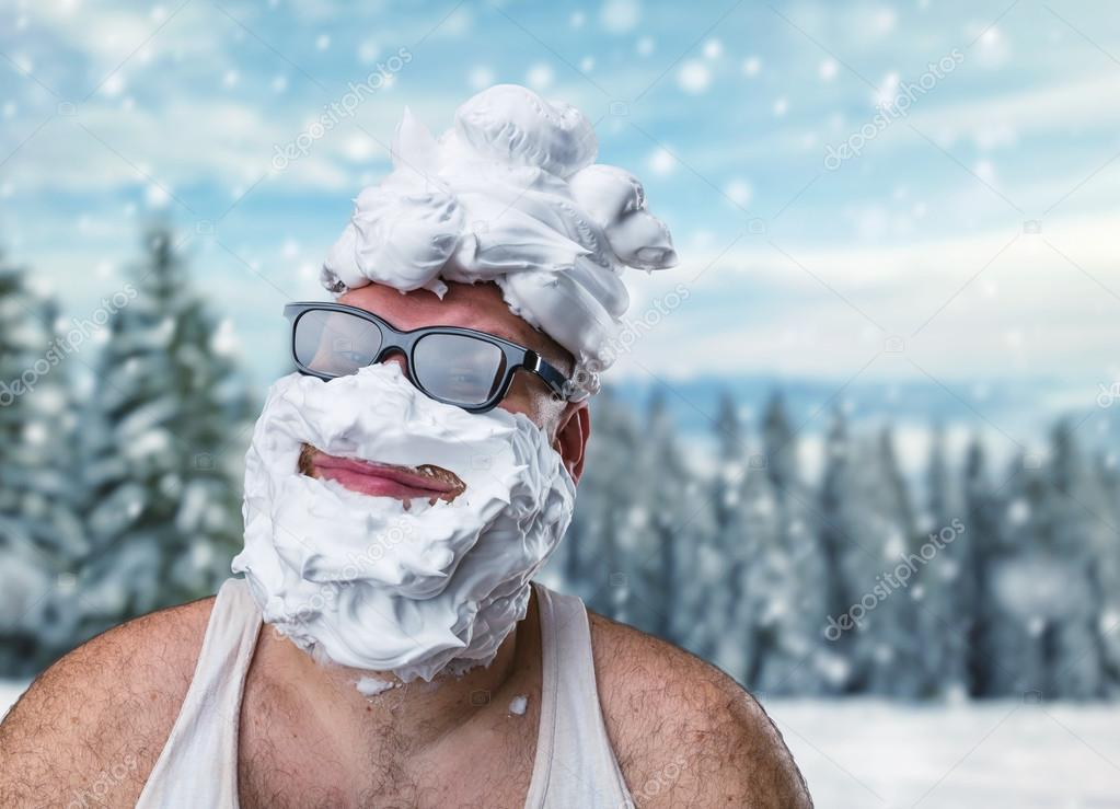 Man with shaving foam on his face