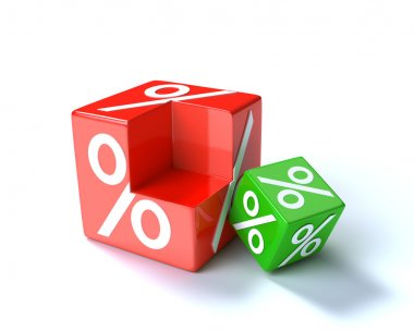 Red percent cube with green