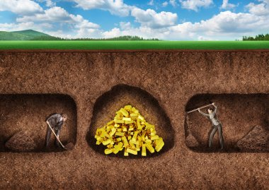 Businesspeople dig a tunnel to treasure