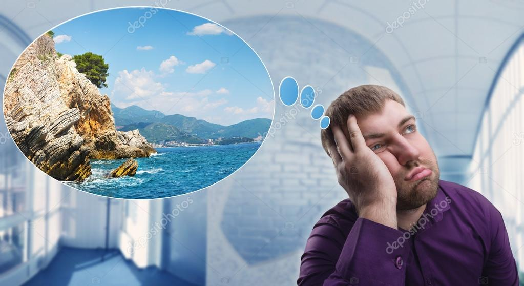 man dreaming about vacation