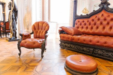 vintage leather-covered furniture