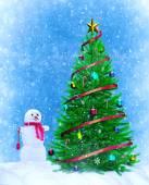 Vánoční strom s sněhulák