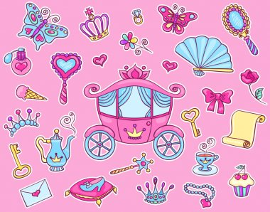 Cute princess sticker set with carriage