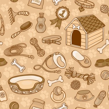 Seamless pattern with accessories for dogs brown