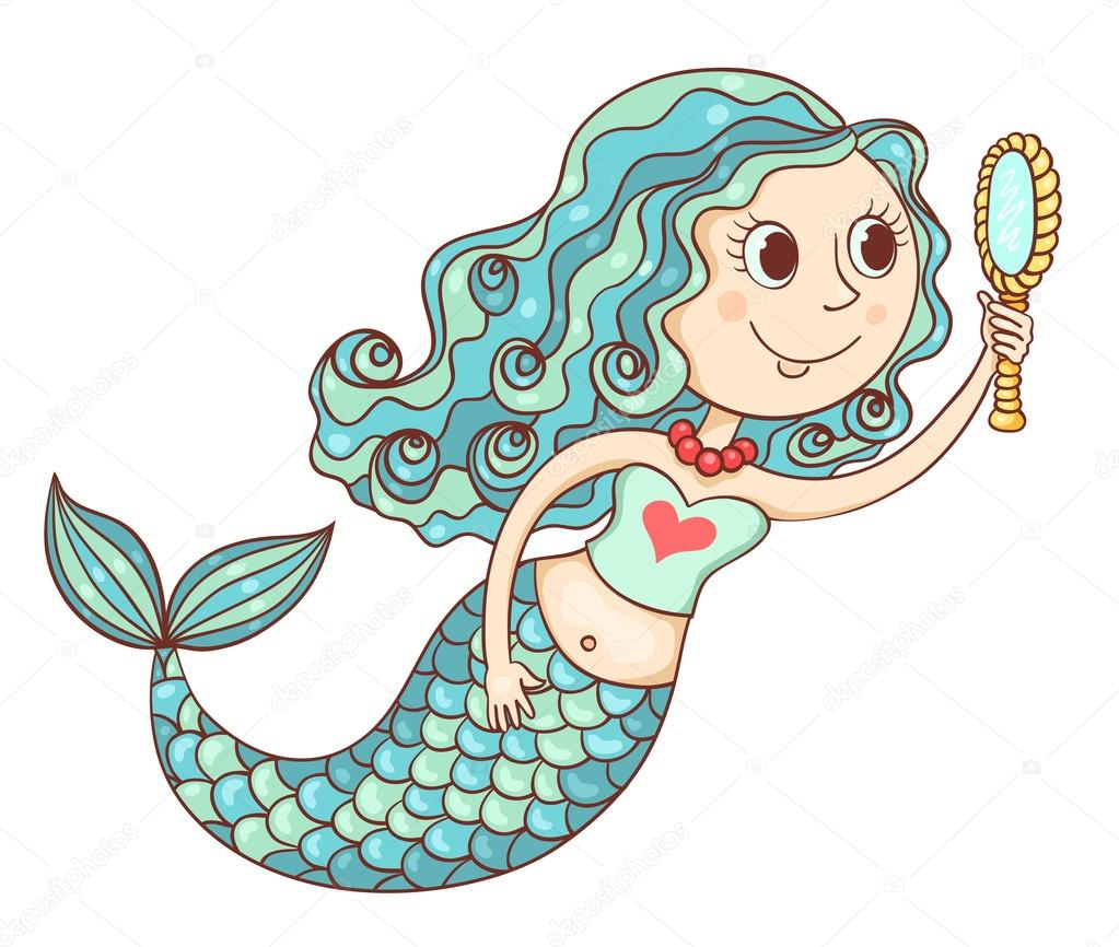Cute mermaid with mirror