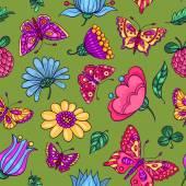bezešvé vzor s motýly a květiny