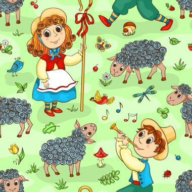 Seamless pattern with shepherd-girl and shepherd-boy
