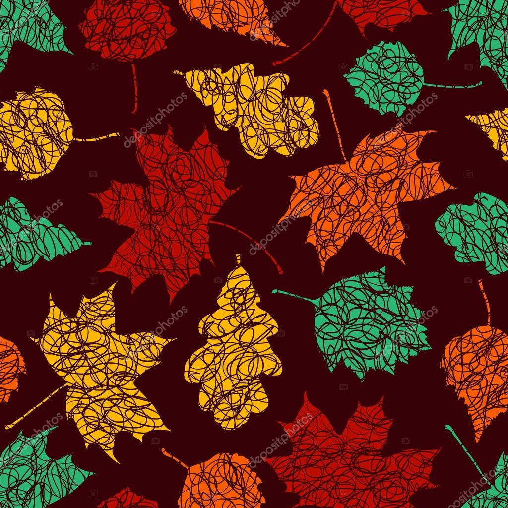 Autumn leaves with sketches lines on the dark