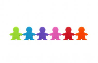 Colorful people figures standing in a row with clipping path.
