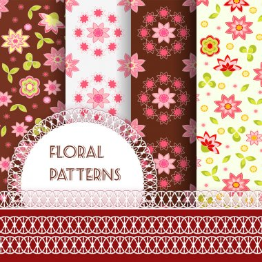 Floral seamless and borders. Set