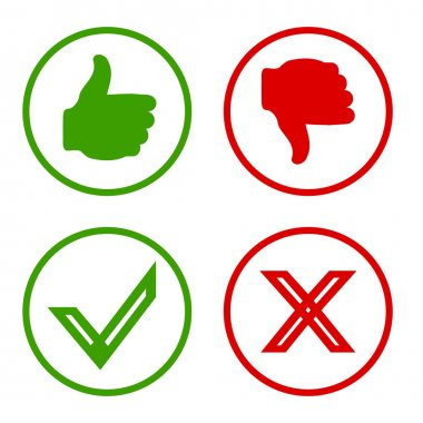 Yes, No, Thumbs up and down icons Like and unlike symbol.