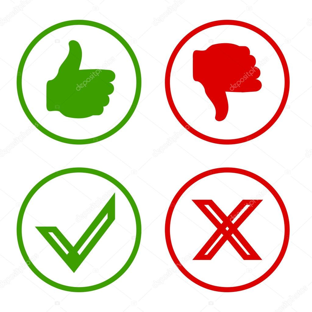 Yes, No, Thumbs Up And Down Icons Like And Unlike Symbol
