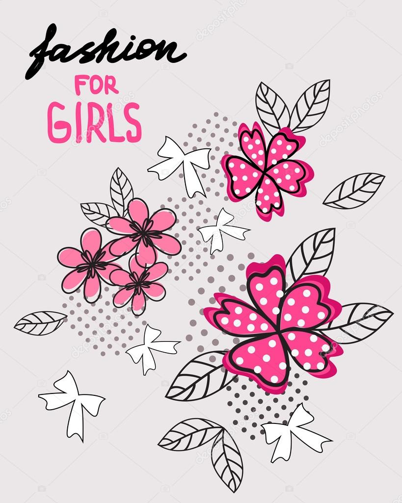 Flower and bow. T-shirt design. Fashion for girls.