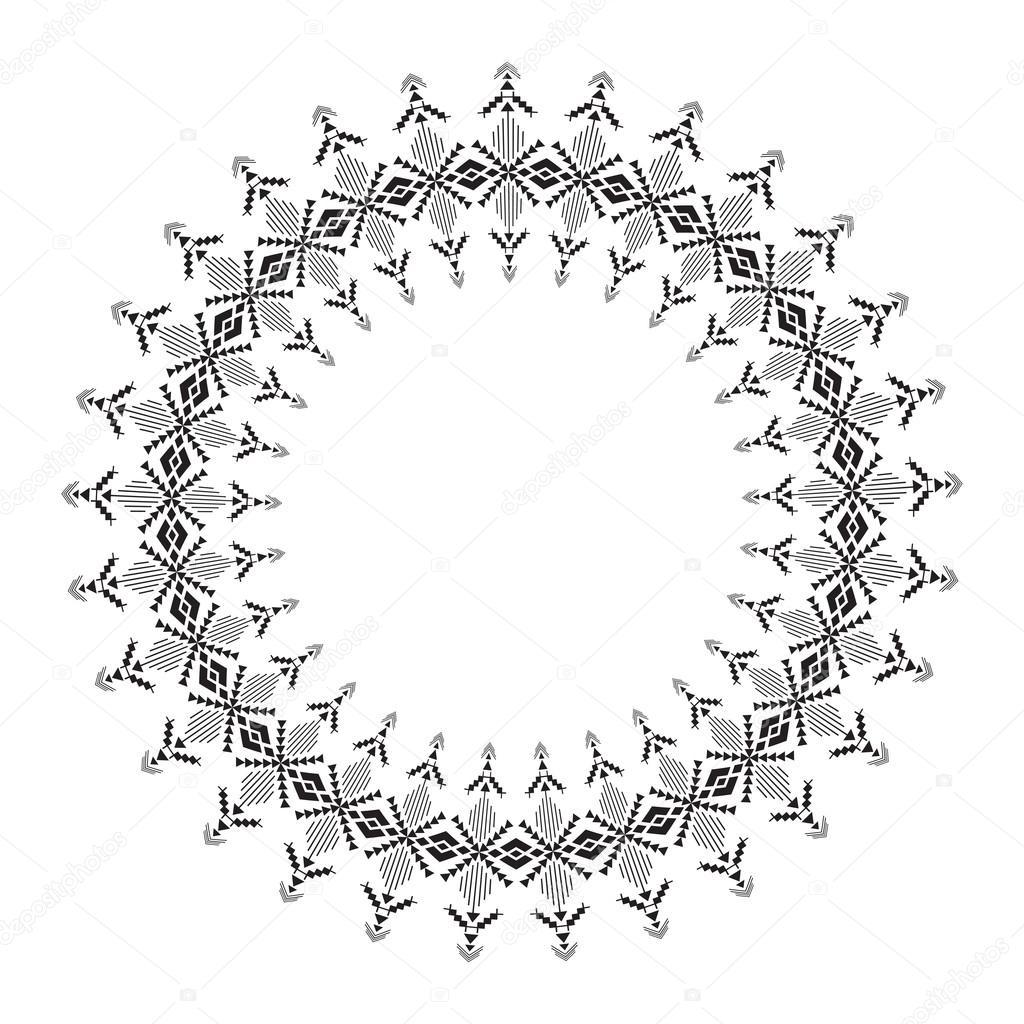 Marco de círculo geométrico para el diseño de tribal — Vector de ...