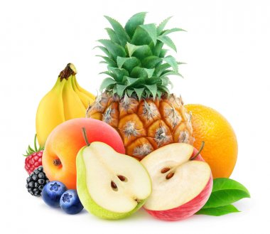 Pile of various fresh fruits over white background, with clipping path stock vector