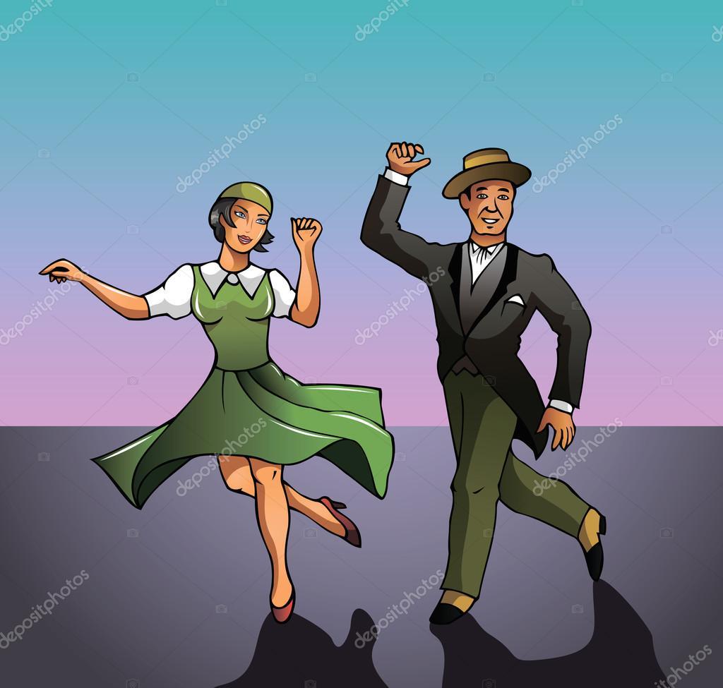 Dancing couple, vector