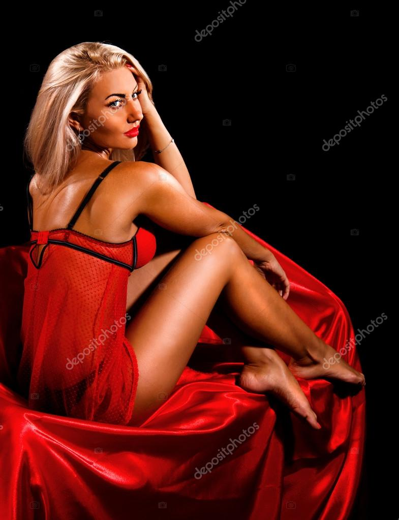 Sexy Lady In Red Underwear Stock Photo