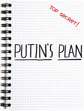 Notepad with a Putin's Plan writing