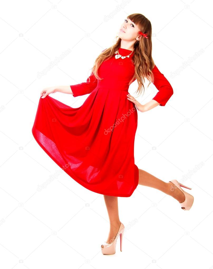1737226e86 Młoda kobieta w jasne czerwone suknie wieczorowe na białym tle nad białym —  Zdjęcie od ...