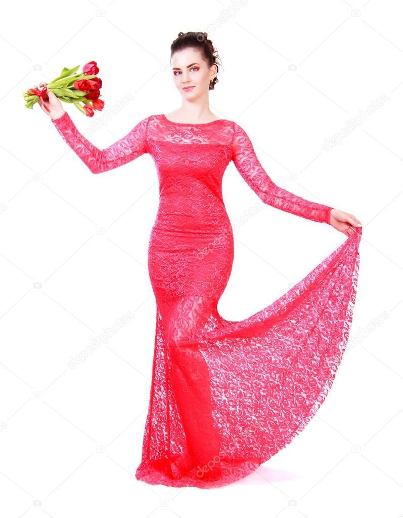 Hermosa mujer joven en un vestido rojo de noche — Fotos de Stock ...