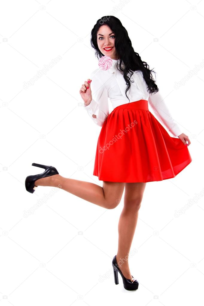 800e9f50e527 Beautiful young woman in a white blouse and a short red skirt isolated over  white background — Photo by ...