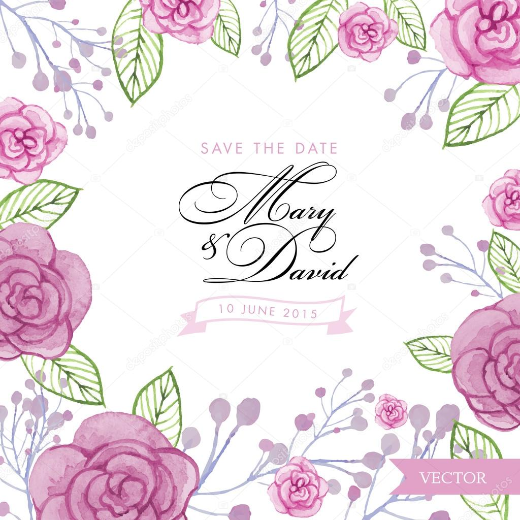 watercolor roses wedding invitation template save the date vector