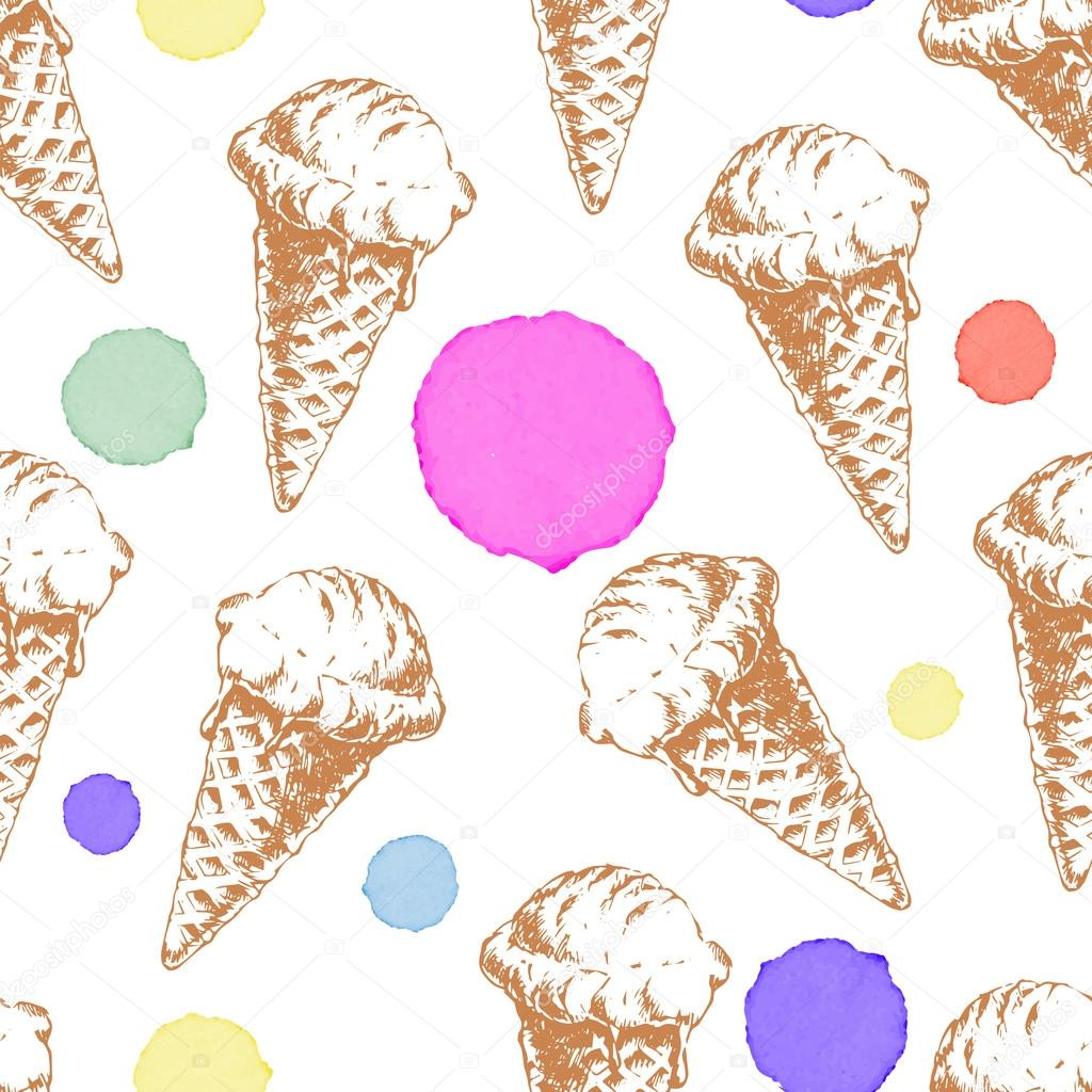 Seamless Pattern With Hand Drawn Watercolor Ice Cream: Seamless Pattern With Cone Waffle Ice Cream And Colorful