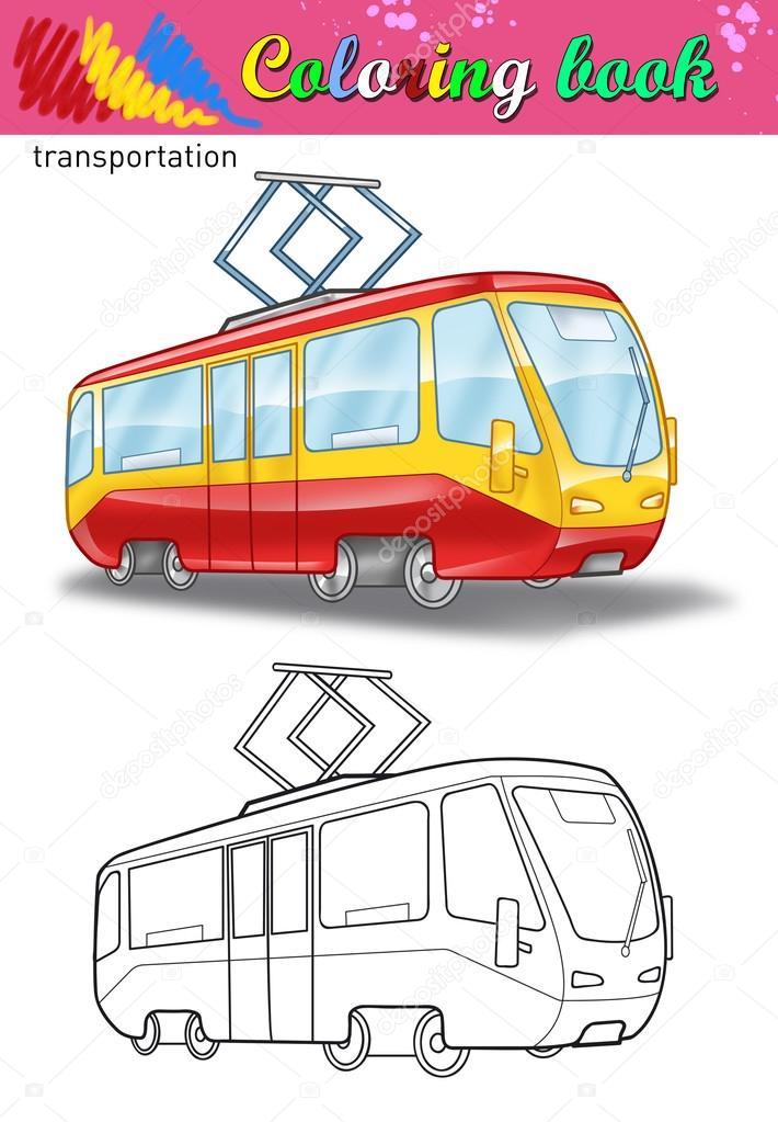 路面電車のぬりえ子供のための塗り絵白い背景に分離ストリートカー