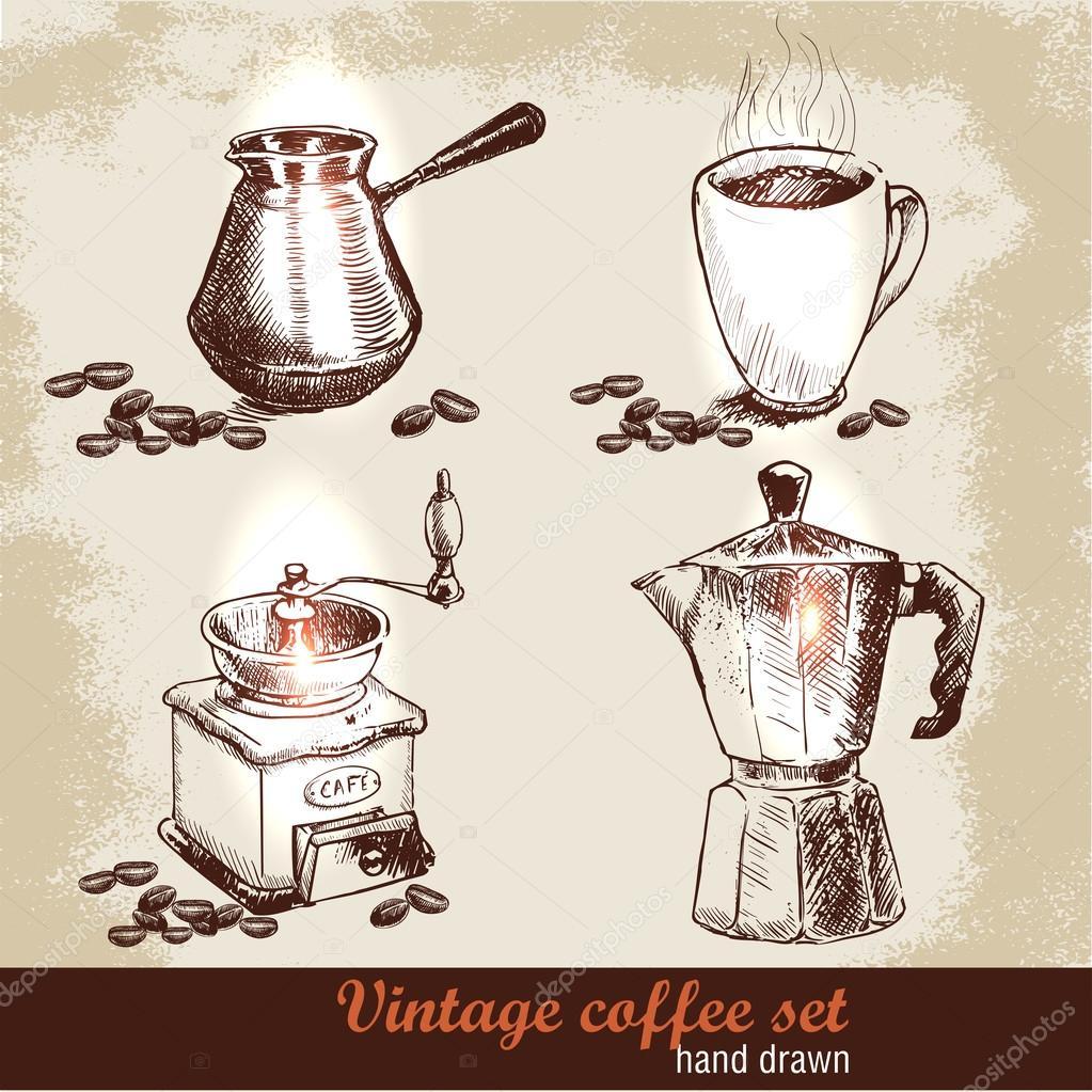 skizzieren sie kaffee set kaffeem hle italienische kaffeekanne und tasse kaffee mit bohnen. Black Bedroom Furniture Sets. Home Design Ideas