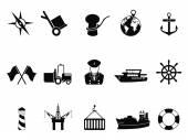 Námořní přístav ikony nastavit