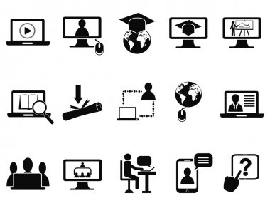Online class icons set