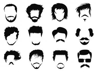 Man hairstyle silhouettes