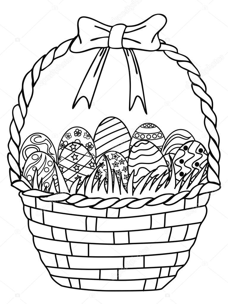 canasta de huevos de Pascua — Vector de stock © huhulin #66391873