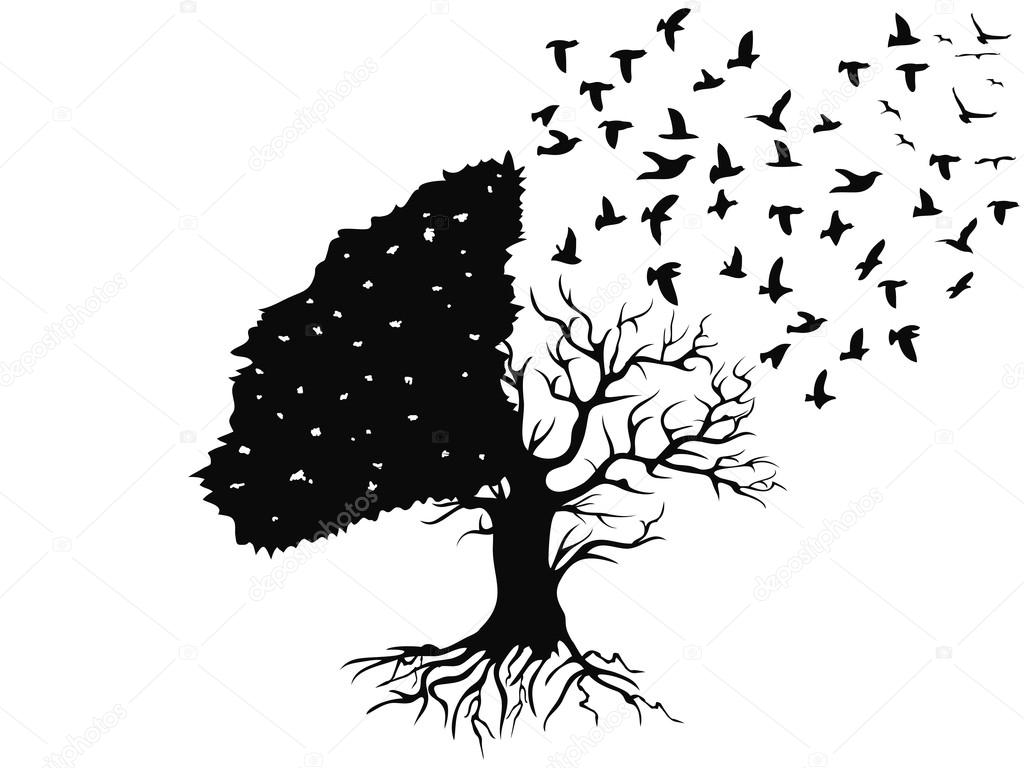Stock Illustration Birds Flying From The Tree