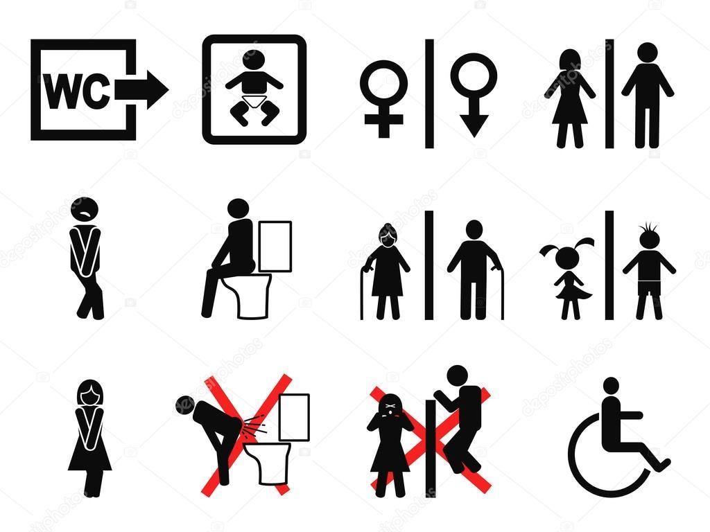 Bathroom and wc symbols icons vector set — Vector by huhulin