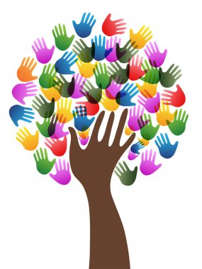 Diversity hands tree background clip art vector