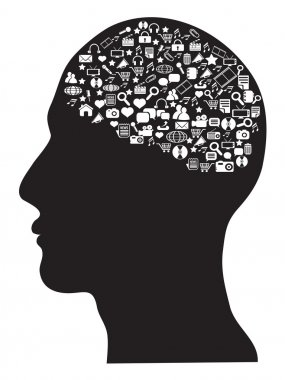 Human brain with social media icons