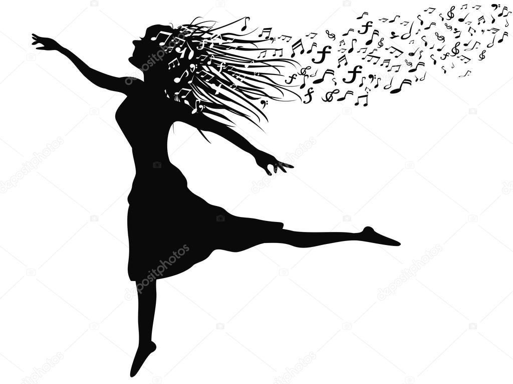 Femme Qui Danse Avec Note De Musique
