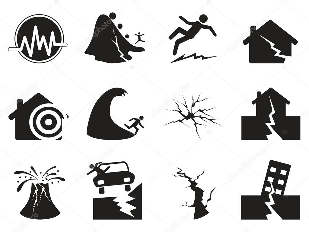 Black earthquake icons set