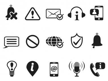black notification and information icons