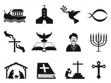 black christian religious icons set