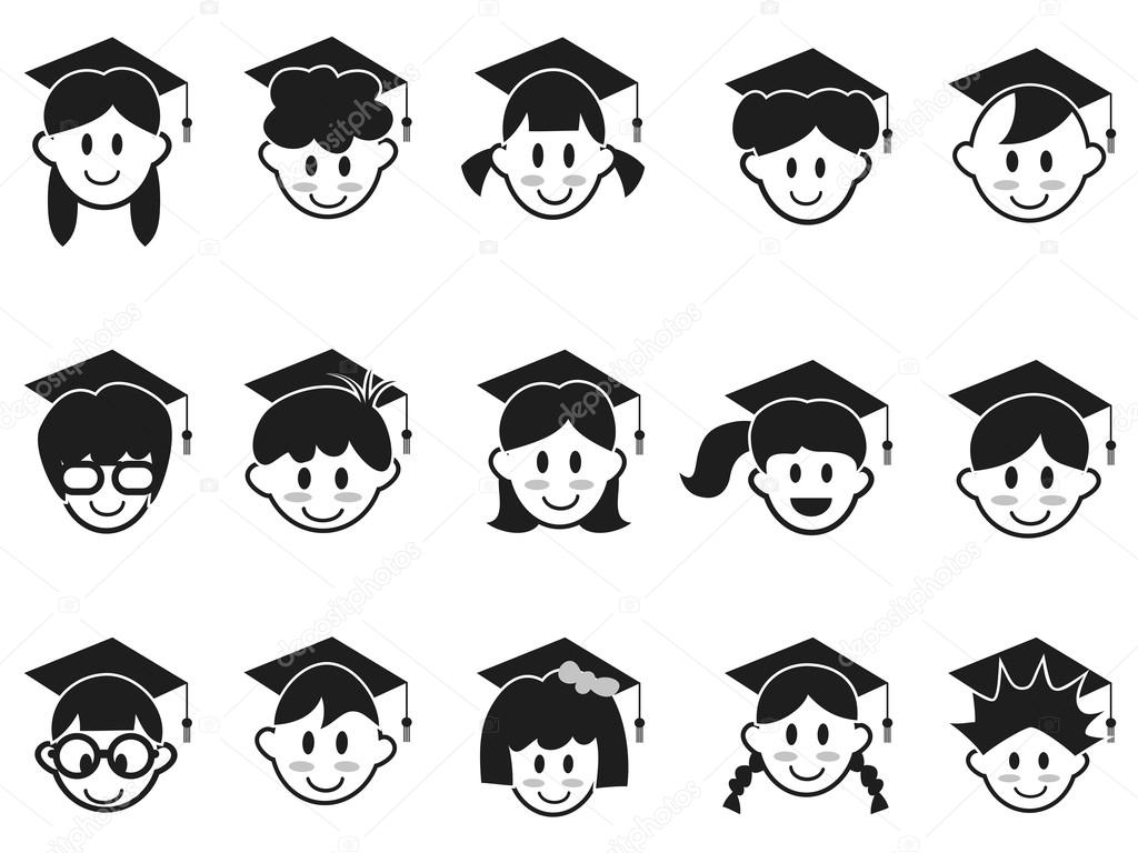 caras de los niños con casquillos de la graduación — Archivo ...