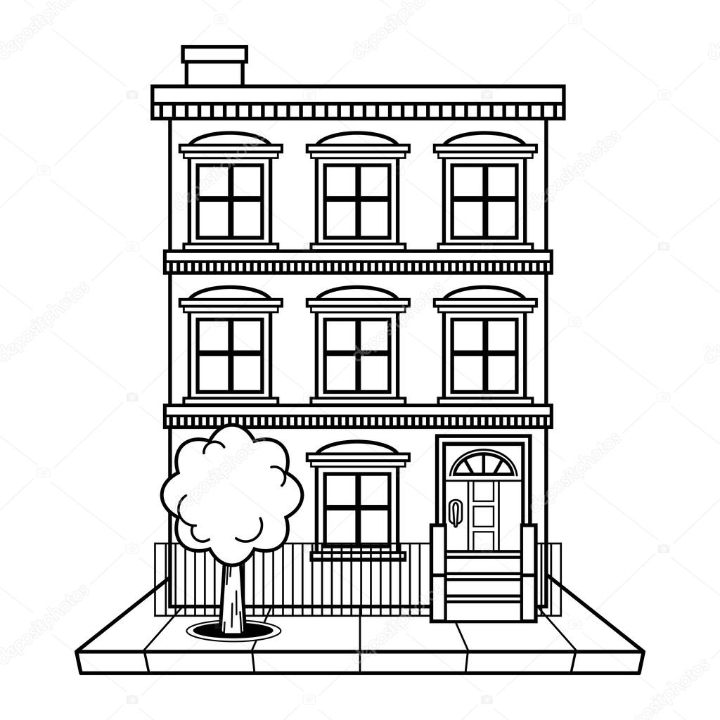 Vector Illustration Of A Brick Apartment Building U2014 Vector By Briangoff
