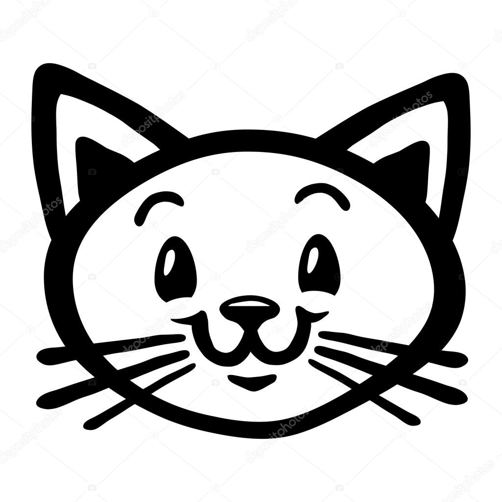 Cat Cartoon Black And White Happy